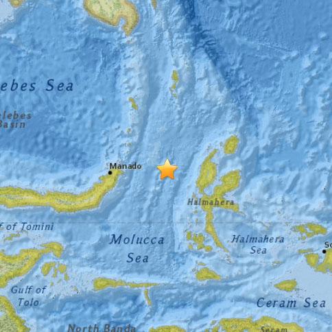 Indonesia Earthquake map, March 17, 2015, courtesy Pacific Tsunami Warning Center.