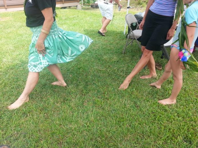 Visitors follow Judy Kinser's dance steps.  Photo credit: Haleakalā National Park.