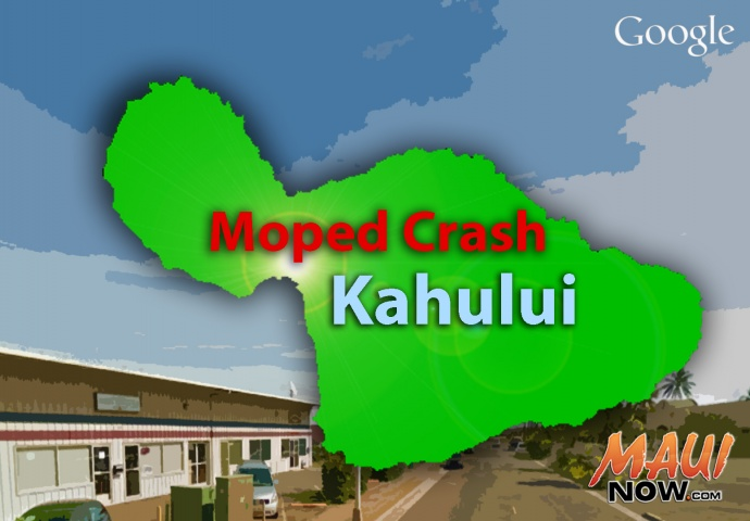 Moped Crash, Kahului. Background image courtesy Google Earth.