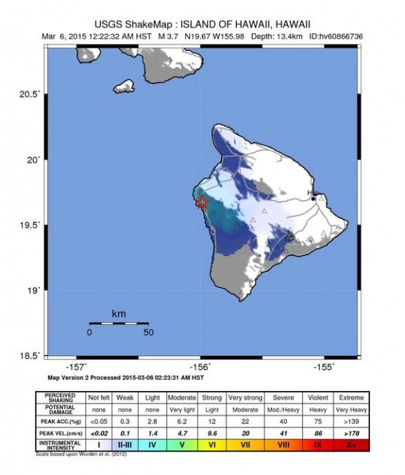 Hawaiʻi Island earthquake, 3/6/15 shake map courtesy USGS.