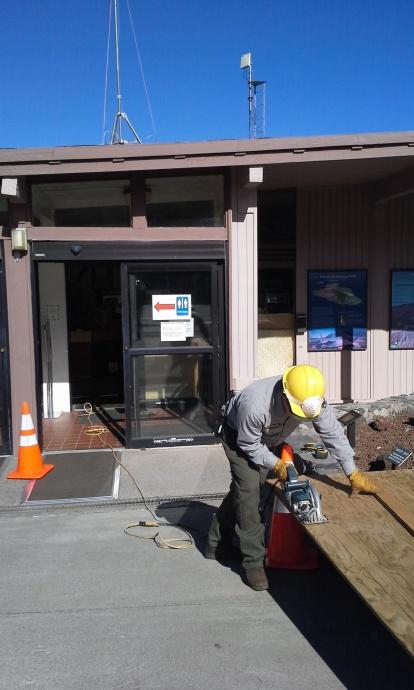 Shaping the plywood base. Photo courtesy Haleakalā National Park.