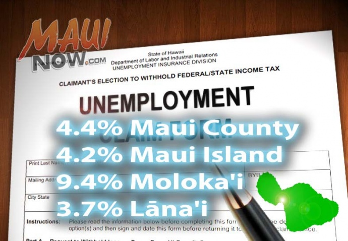 Unemployment graphic for February 2015 by Wendy Osher, based on state DLIR statistics.