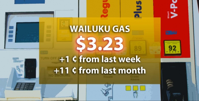 Wailuku gas on 3/26/15, per AAA Daily Fuel Gauge report. Graphic by Wendy Osher.