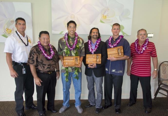 "(Left to Right) Fire Chief Jeff Murray, Mayor Alan Arakawa, Taje Akaka- Foster, James Giroux, James Owen Deatrick, Chair William ""Butch"" Soares. Photo Credit: Ryan Piros, County of Maui."
