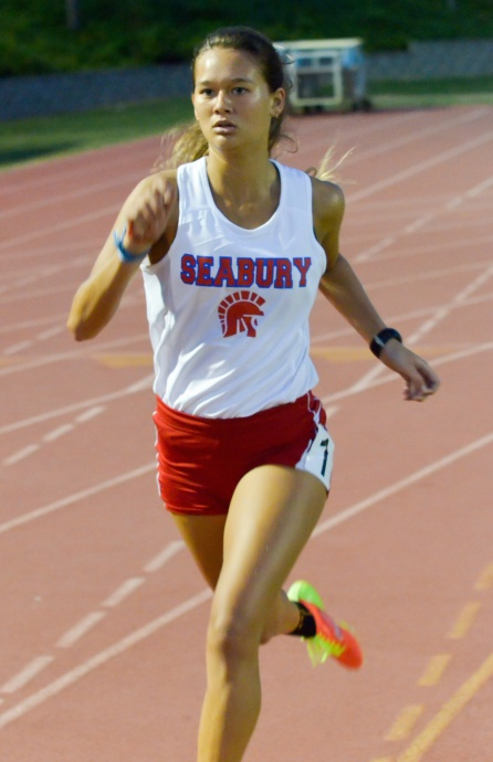 Seabury Hall's Ava Shipman won three individual events and anchored the Spartans' winning 4 x 400 relay Thursday. Photo by Rodney S. Yap.