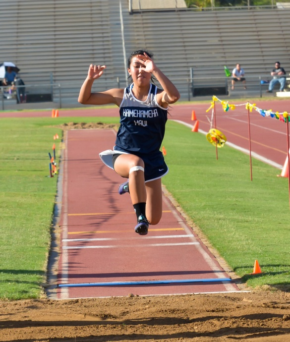 Kamehameha Maui's Shaina Uyechi won the girls long jump with a leap of 13-7.25.  Photo by Rodney S. Yap.