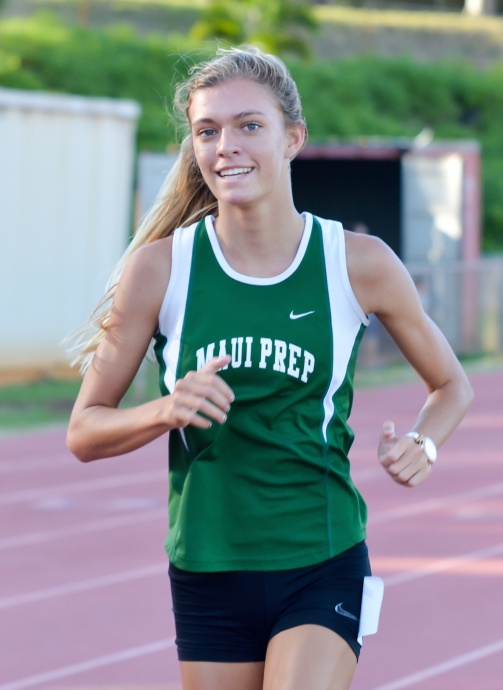 Maui Prep Academy's Sophia Johnston was a rare double winner Friday, claiming titles in the 1,500 and 3,000. Photo by Rodney S. Yap.