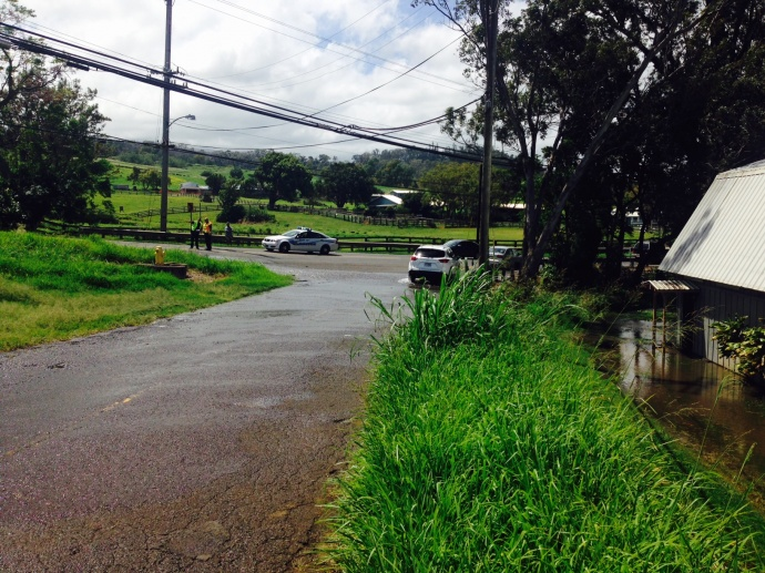 Flooding is occurring at the corner of Laie Drive and Makawao Avenue.