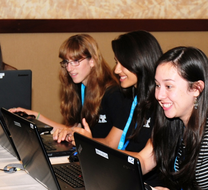 Microsoft's grant will enable MEDB's WIT program to provide computers with the most upgraded software for students such as those pictured from the Hawaii STEM Conference. Courtesy photo.