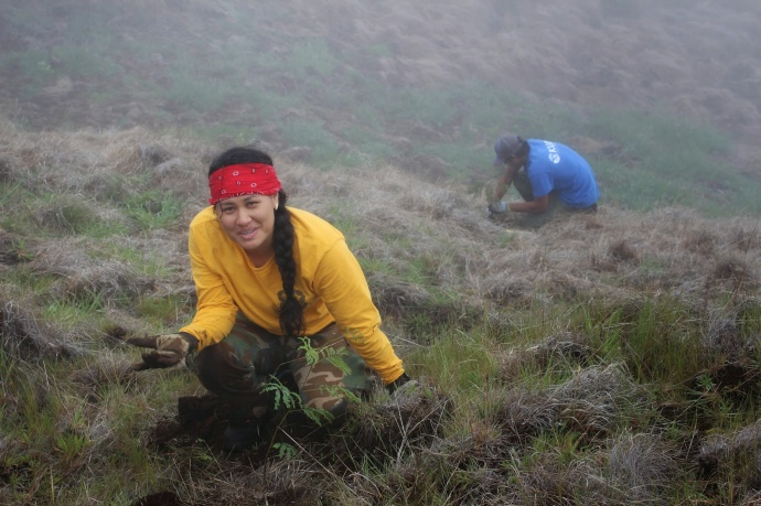 Kupu Hawai'i Youth Conservation Corps volunteer Nōweo Kai outplanting trees at Nakula Natural Area Reserve, Maui. Photo by Kirsten Gallaher