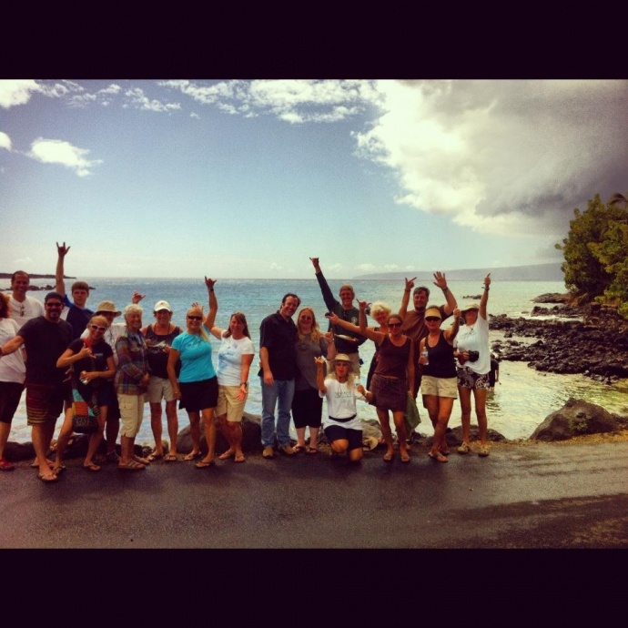 Margo pictured (8th from left in black tank top) while she was volunteering at the ʻĀhihi Kīnaʻu Natural Area Reserve as a volunteer interpretive guide. Courtesy photos.
