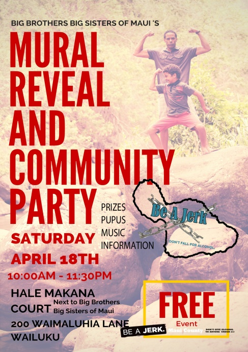 Maui Mural Reveal and Community Party event flyer. Courtesy BBBS of Maui.