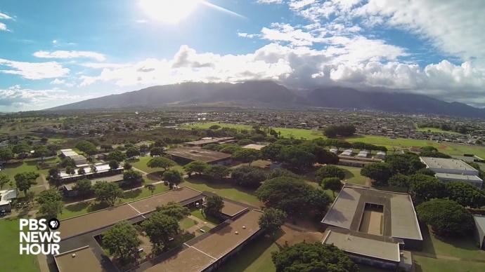 Aerial image near Maui High School, shot by MHS freshman Ian Forbes. Photo courtesy PBS Hawaiʻi.