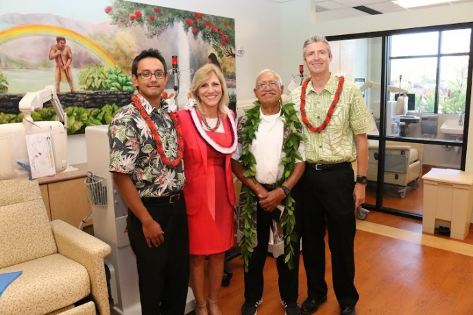 Rudy Marilla, vice president of clinic operations; Mary Ann Barnes, RN, president of Kaiser Permanente Hawaii and Rainbow Dialysis; Kahu Earl Kukahiko; and Geoffrey Sewell, MD, president and executive medical director of Hawaii Permanente Medical Group, at the blessing of Lahaina Rainbow Dialysis Center on April 30. Courtesy photo.