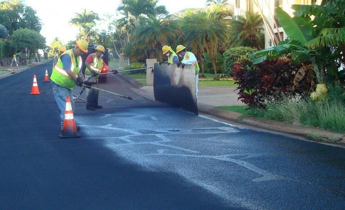 Slurry sealing.   photo courtesy County of Maui.