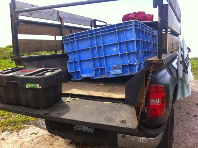 "On Feb. 22, 2015 Hawaii Wildlife Fund Marine Debris volunteers picked up a 4' x 6' blue bin that reads ""YK 287"" and Sanko Co Ltd. Confirmation is pending if it is tsunami debris. Photo courtesy Hawai'i Wildlife Fund."