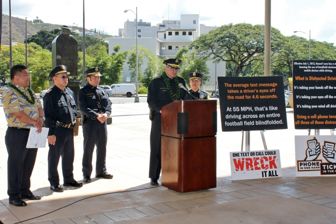 HPD Chief of Police Louis Kealoha addresses the dangers of Distracted Driving and the penalties for violations.
