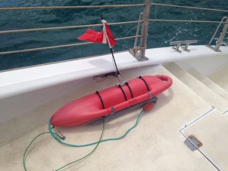 The Coast Guard is searching for the owner of an adrift dive float found adrift off Maui April 8, 2015. Photo courtesy US Coast Guard.
