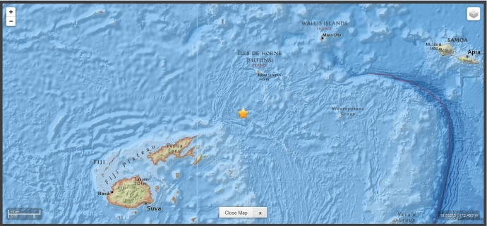 Fiji earthquake map, April 17, 2015, courtesy USGS.