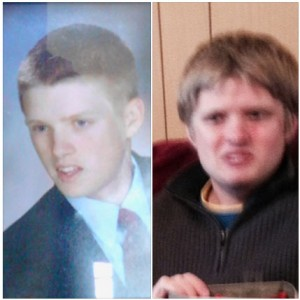 The picture on the left is his high school photograph, approximately 7 years ago. The photograph on the right is the most recent photo of Prichard and is over one year old.  Photos courtesy Maui Police Department.