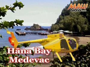 Hāna Bay medevac. Maui Now graphic.