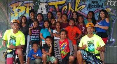Zipline staff members Brennan Black and Kaulana Bongolan with keiki from the  Big Brothers Big Sisters of Maui Afterschool Mentoring Program and School Based Case Manager Ashlee Chapman.
