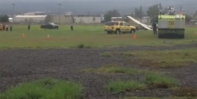 Image from small plane crash scene at Hilo International Airport, April 14, 2015. Photo by Jamilia Epping/ BigIslandNow.com.