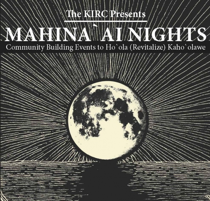 Mahinaʻai Night to Restore Kahoʻolawe. Event flyer.