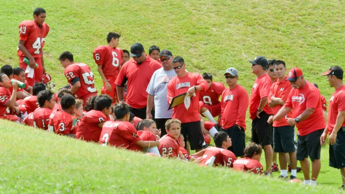 Lahaina coaches discuss adjustments for the second half during halftime of its Intermediate Division game with Wailuku on Saturday. Photo by Rodney S. Yap.