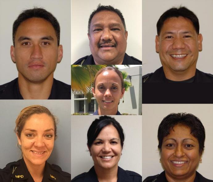 "Maui Police Department Sergeant promotions, as of April 23, 2015.  Top row: (l to r) Duke Pua, Nathan Pellazar and Rockwell Silva; middle row: Joy ""Kanani"" Medeiros; bottom row: Heather Gilroy, Tanya ""Kehau"" Dods and Surendar Singh."