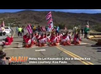 Hālau Nā Lei Kaumaka O Uka offers a hula at Mauna Kea at the site where demonstrators are standing guard against the construction of the Thirty Meter Telescope. Image courtesy Koa Paulo.