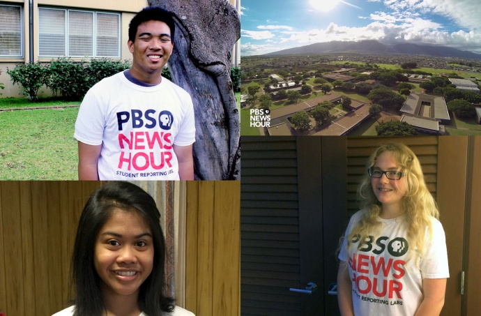 PBS News Hour, Student Reporting Lab Fellows: Giel Marie Tolentino (bottom left); Zoe Whitney (bottom right); and John Fabella (top left).