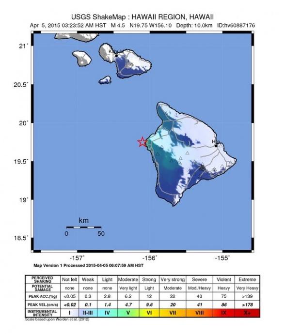 Shake map, April 5, 2015. Image courtesy USGS.