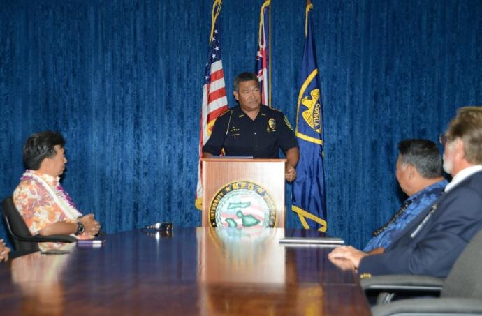 Maui Police Chief Tivoli Faaumu. Photo courtesy Maui Police Department, April 2015.