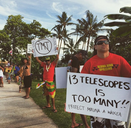 TMT Demonstration on Maui in Kīhei at Cove Park, April 8, 2015. Photo Credit :Leilani Zerkle & Instgram @laniijane Aloha
