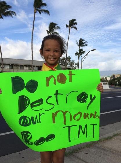 TMT Demonstration on Maui in Kīhei at Cove Park, April 8, 2015. Photo Credit :Leilani Zerkle & Instgram @laniijane Aloha