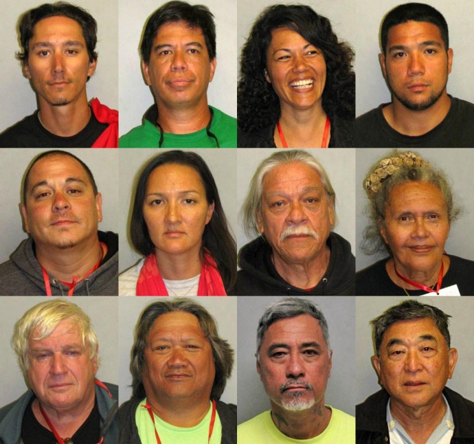 Twelve individuals were arrested during the TMT demonstration at Mauna Kea. Photos courtesy Hawaiʻi Island Police Department.