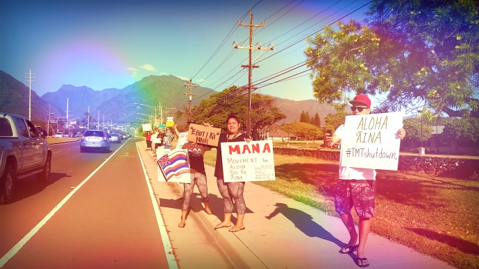 Photo courtesy Kahele Dukelow from a separate sign-waving demonstration held at UHMC on Thursday, April 2, 2015.