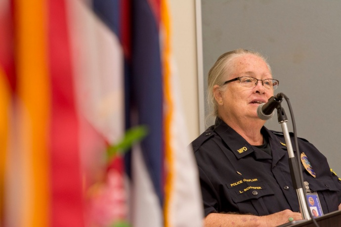 MPD Chaplain Lynette Schaefer delivering the Memorial Address during the Police Week Memorial Service at the Kīhei Police Station, May 11, 2015. Photo courtesy County of Maui.