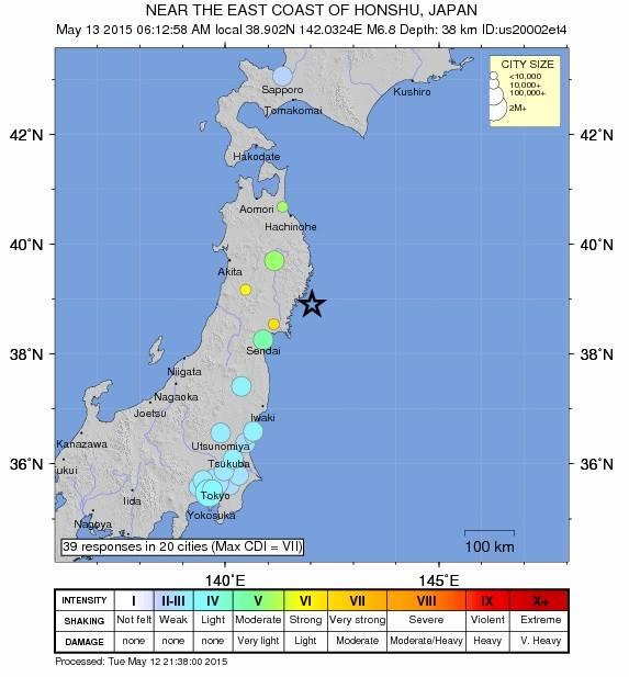Japan earthquake, Tuesday, May 12, 2015. Map courtesy USGS.