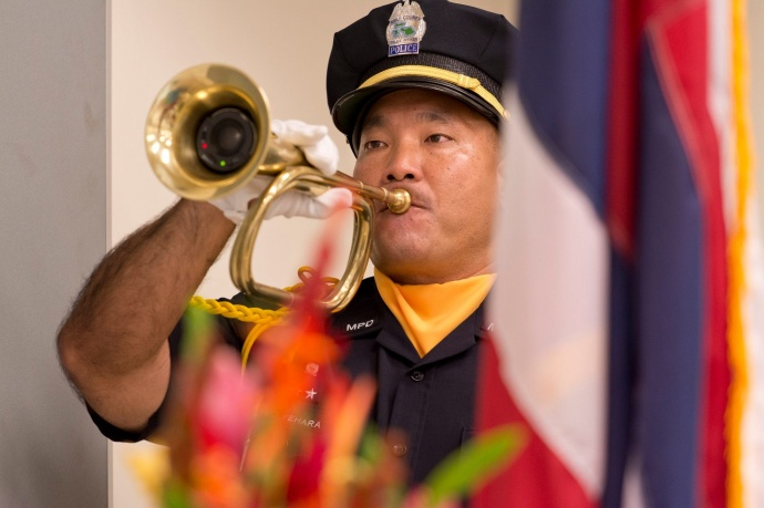 TAPS performed by Officer Kean Uyehara during the Police Week Memorial Service at the Kīhei Police Station, May 11, 2015. Photo courtesy County of Maui.