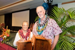 Winners of the 2015 Outstanding Older American Award - Katsuko Enoki and Donald Jensen - at the 47th Annual Maui County Outstanding Older American Awards Luncheon. (5.15.2015). Photo courtesy County of Maui.