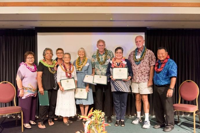 The 2015 Outstanding Older American Nominees at the 47th Annual Maui County Outstanding Older American Awards Luncheon. (5.15.2015) — with Janice Yukiko Shishido and Alan Arakawa. Photo courtesy County of Maui.