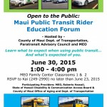 County and MEO to Hold Public Transit Rider Education Forum