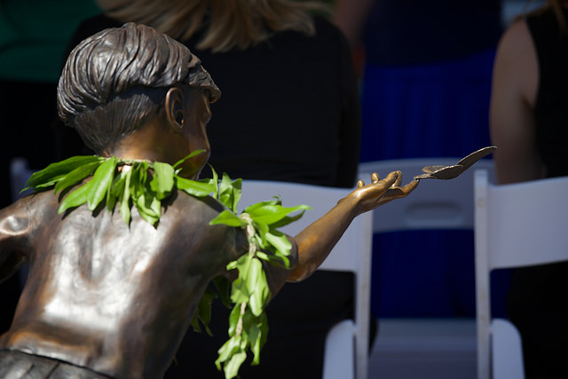Imua Family Services Grand Opening Celebration, 4/17/15.  This statue by sculptor Christine Turnbull graces the entrance of Imua's new home. Photo courtesy: Jeane McMahon via Imua Family Services.