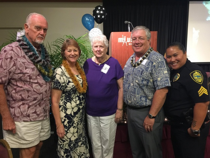 2015 Outstanding Older American Award (male) recipient - Donald Jensen (pictured far left) - at the 47th Annual Maui County Outstanding Older American Awards Luncheon. (5.15.2015). Photo courtesy Maui Police Department.