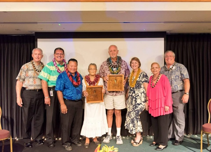 Winners of the 2015 Outstanding Older American Award - Katsuko Enoki and Donald Jensen - at the 47th Annual Maui County Outstanding Older American Awards Luncheon. (5.15.2015) — with Mike White, Michael Victorino, Alan Arakawa, Roz Baker, Gladys C Baisa and Don Couch. Photo courtesy County of Maui.