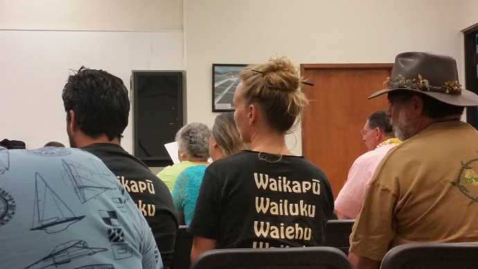 About 40 individuals showed up for the meeting before the state Board on Geographic Names. Maui Now photo, 05.27.15.