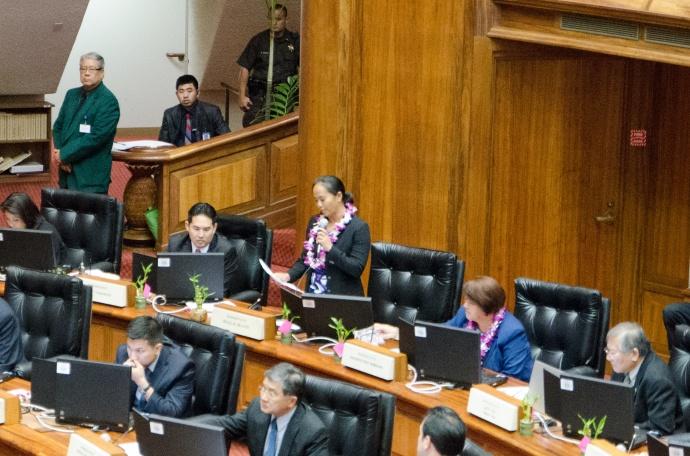 Rep. Della Au Belatti (Makiki, Tantalus, Papakolea, McCully Pawaa, Manoa), who co-introduced the bill speaks on the House Floor. Courtesy photo.