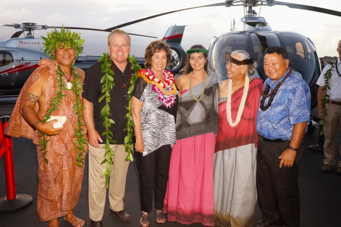 Maverick Helicopters celebrates the opening of its Maui operations with a ribbon cutting ceremony and Lei Day celebration. Courtesy photo.